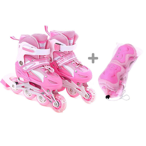 Girls rollerblades with illuminating wheel