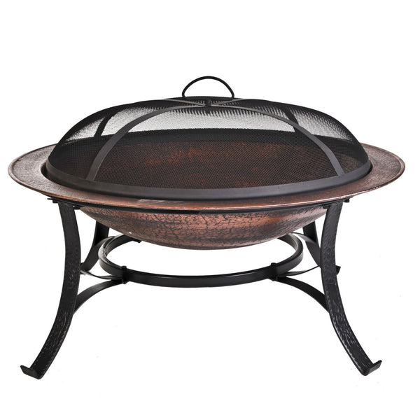 Iron Copper Finish Fire Pit with Screen & Cover