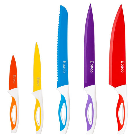 5 Kitchen Knives with 5 Knife Sheath Covers