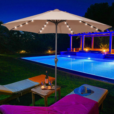 Patio umbrella with 32 LED lights