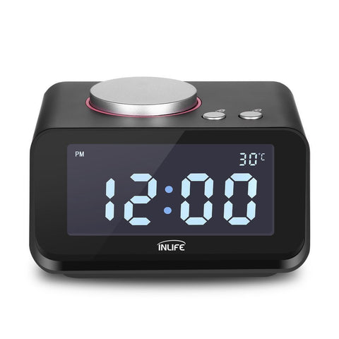 INLIFE Dual Alarm Clock with FM Radio, USB Phone Charging and Speaker