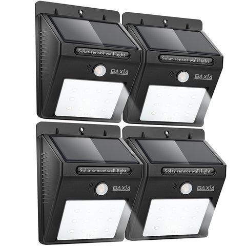 Pack of 4 solar motion sensor lights