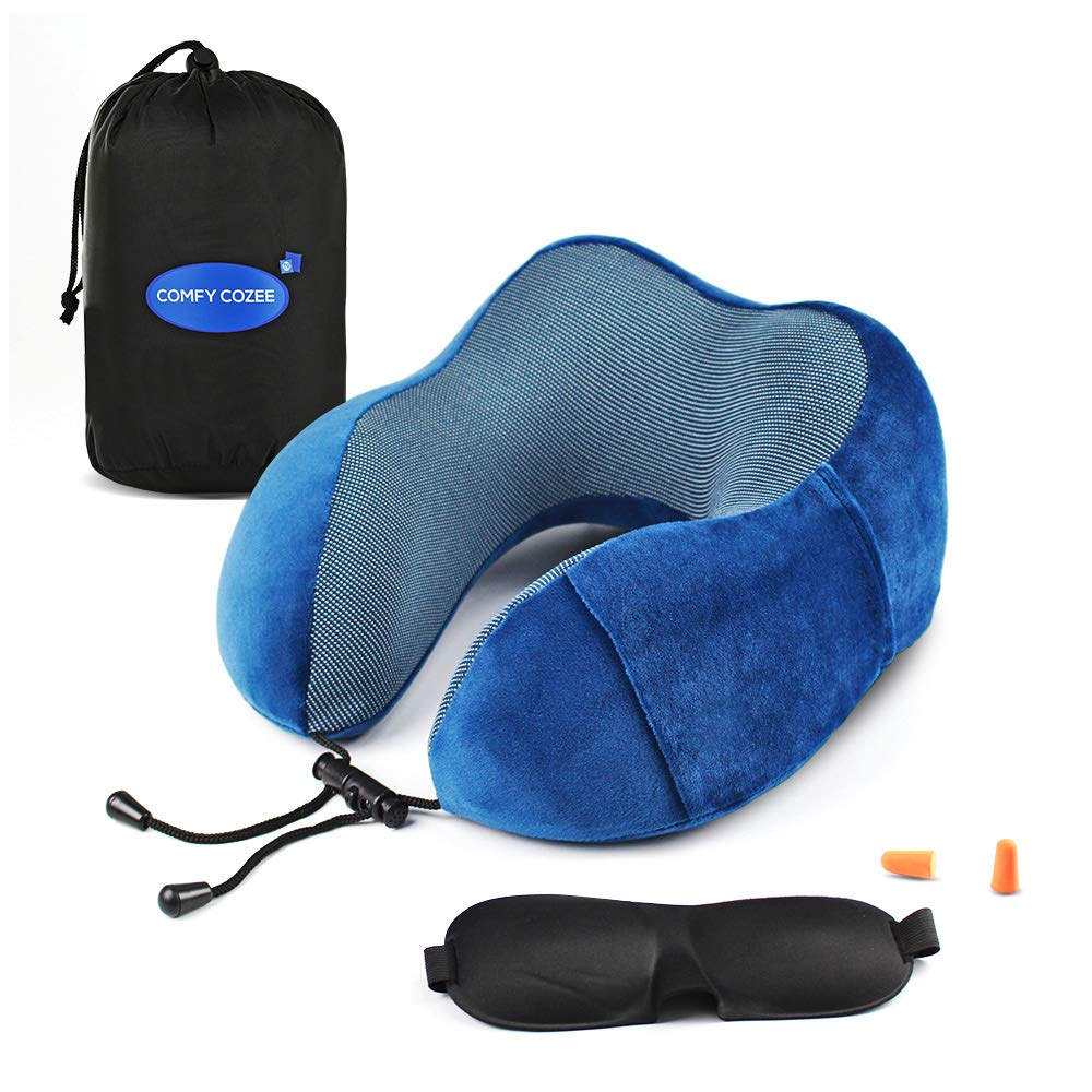d959b0028f49 Memory Foam Travel Neck Pillow Set With Eye Mask, Earplugs & Carry Bag
