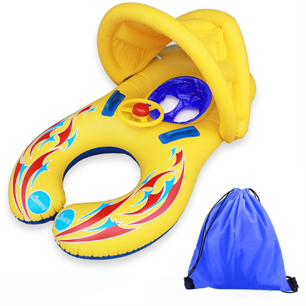 Baby pool float with mommy swim ring