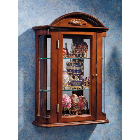 Design Toscano Rosedale Glass Wall Mounted Storage Curio Cabinet