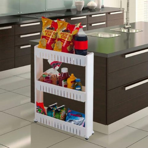 3-Tier Slim Slide Out Pantry on Rollers