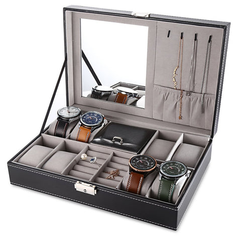 Black Jewelry Box 8 Slots Watch Organizer Case with Lock and Mirror