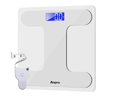 Digital bathroom scale with body tape measure