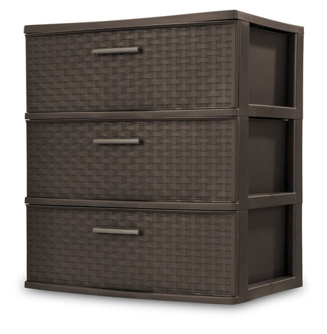 Sterilite 3 Drawer Wide Weave Tower, Espresso Frame & Drawers
