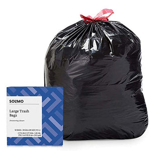 50-Count 30-Gallon Solimo Multipurpose Drawstring Trash Bags