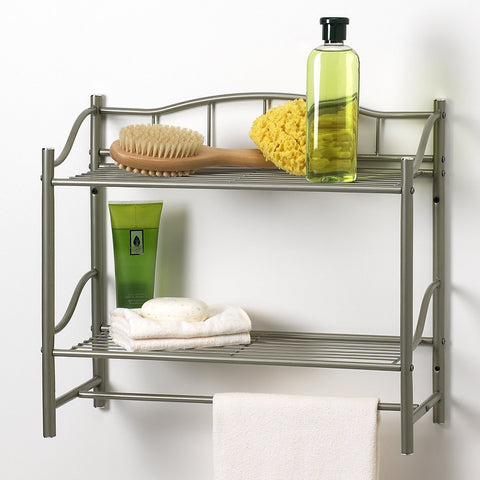 2 Shelf Wall Organizer with Towel Bar