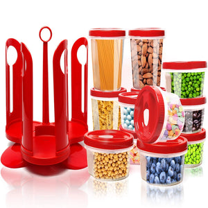 25-Piece Food Storage Container Set with Rotating Rack