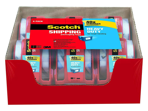6 rolls of Scotch Heavy Duty shipping packaging tape with dispenser