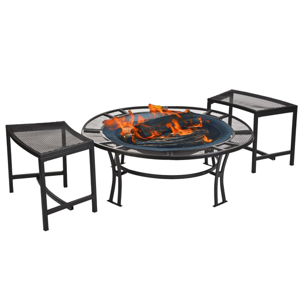 Steel Mesh Rim Fire Pit with Two Bench Set and Cover