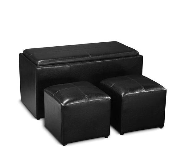 Storage Bench with 2 Side Ottomans