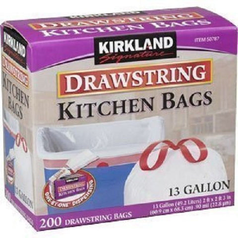 Pack of 200, 13 gallon Kirkland Signature trash bags