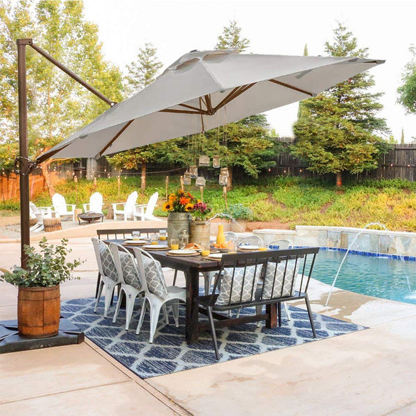Abba Patio Offset Cantilever 11-Feet Outdoor Patio Hanging Umbrella, Beige