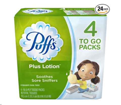 96 packs of Puffs Plus Lotion tissues