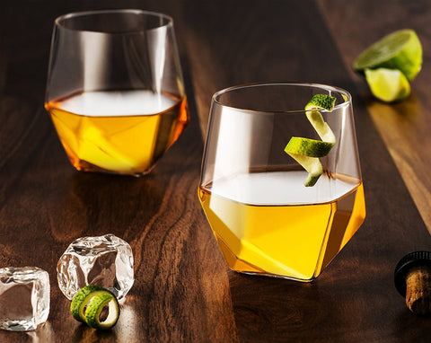 Set of 2 ultra thin crystal whiskey glasses