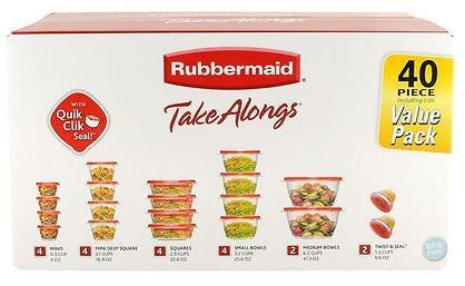 40 Piece Rubbermaid Containers