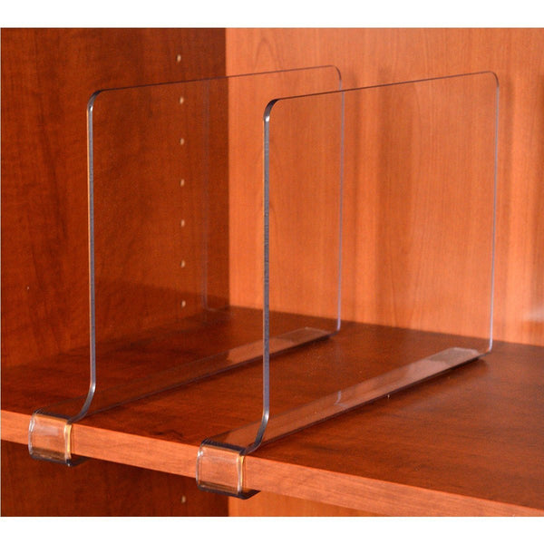Pack of 2 or 4 acrylic shelf dividers