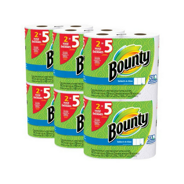 12 Huge Rolls of Bounty Select-a-Size Paper Towels