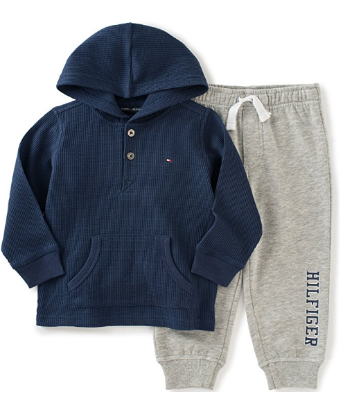 Tommy Hilfiger Boys' Thermal Hooded Top with Fleece Pants Set
