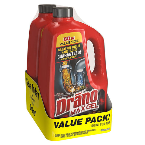 Twin pack of Drano Max Clog Remover, 160 oz