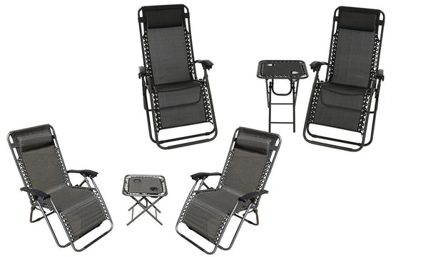 Zero Gravity Chairs And Folding Table With Cup Holder Set