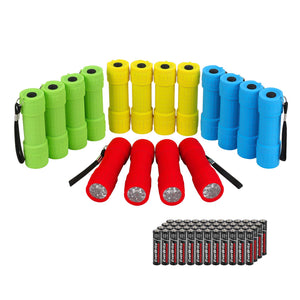 Pack Of 16 Mini LED Flashlights With Batteries