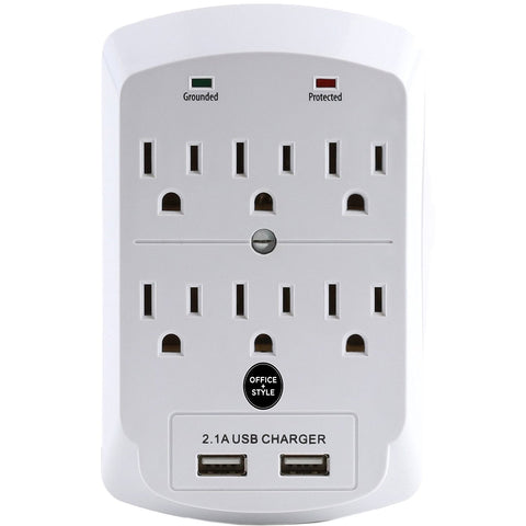 6 outlet surge protector with 2 USB ports