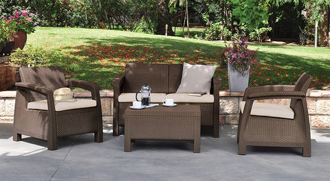 4 piece patio set with cushions