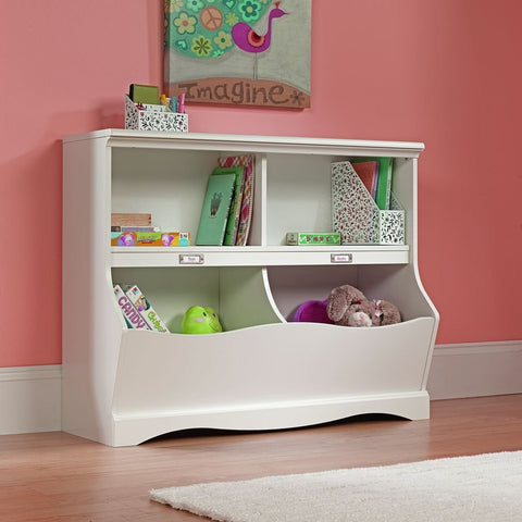 Soft white bookcase / footboard