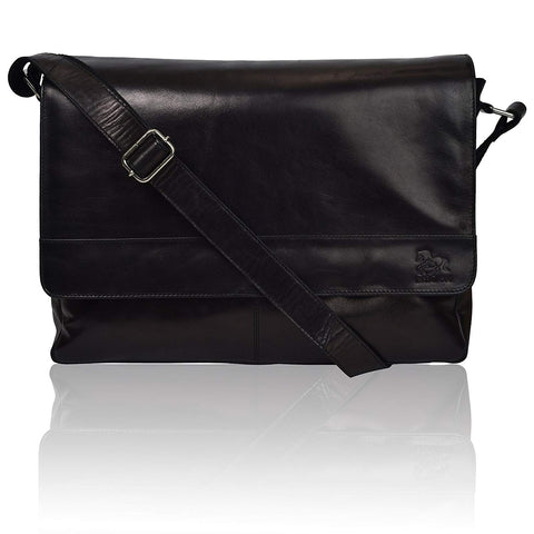 Leather Laptop Messenger Bag for Men - Premium Office Briefcase