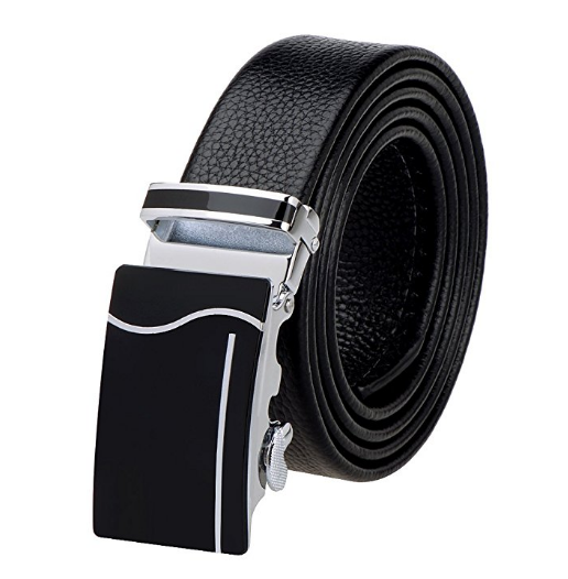 Mens Genuine Leather Belt with Detachable Buckle