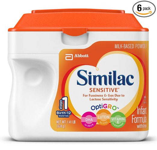 Pack of 6 Similac Sensitive Infant Formula