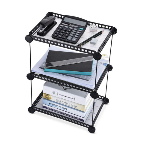 3-Tier Storage Rack, Iron Stackable Desk Organizer