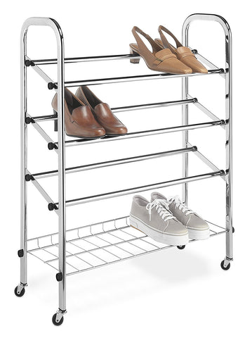 Whitmor Adjustable Rolling Shoe Rack