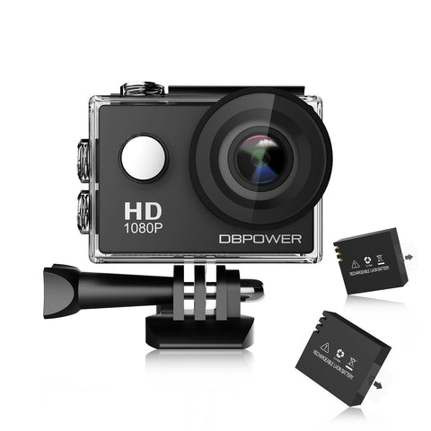 Waterproof action camera with 2 batteries and accessory kit