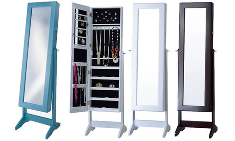 Free-Standing Cheval Mirror Jewelry Armoire