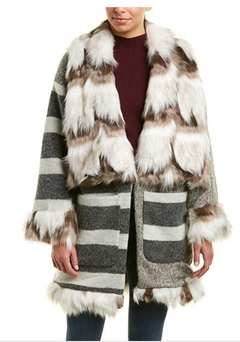 French Connection wool and fur trimmed coat