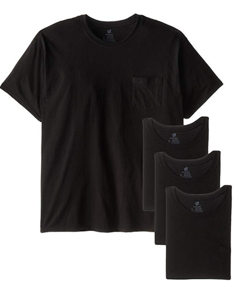Pack Of 4 Men's Hanes Fresh IQ Pocket T-Shirt (Black)