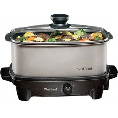 West Bend Oblong Versatility Slow Cooker, 5-Quart,