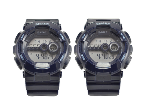Pack of 2 Sharp Digital Sport Watches with EL Backlight