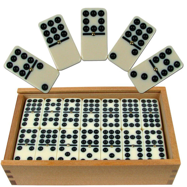 Set of 55 Double Nine Dominoes with Wood Case
