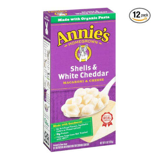 Pack of 12 Annie's Shells & White Cheddar Macaroni & Cheese