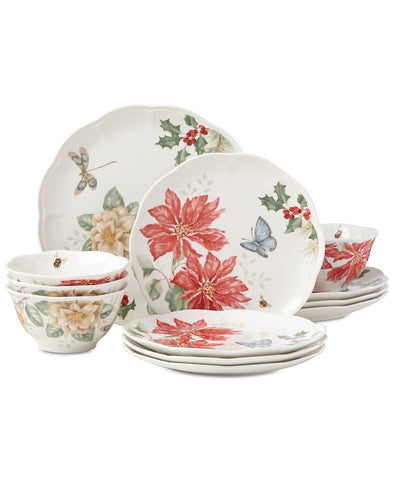 Butterfly Meadow Holiday 12-Piece Dinnerware Set Poinsettias and Jasmine Design