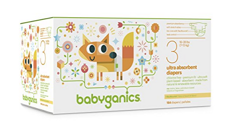Pack of 184 of size 3 Babyganics Ultra Absorbent Diapers