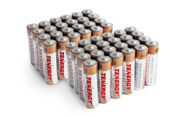 Pack of 48 Tenergy AA Alkaline Batteries