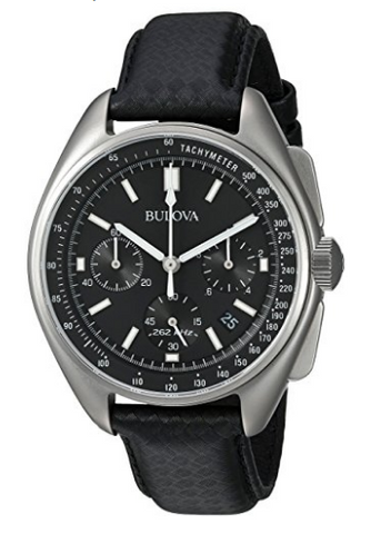 Bulova men's leather strap moon watch